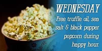 Free truffle oil popcorn every Wednesday